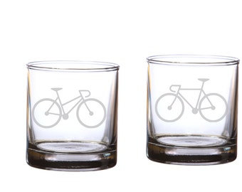 Bicycle Love Etched Whiskey Rocks Glasses - Set of 2