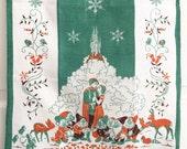 SOLD/RESERVED for PM Vintage Towel Snow White Prince Charming Castle Seven Dwarves Walt Disney Movie Collectible Textile