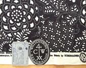 Vintage Linen Fabric Sample Williamsburg Schumacher Black & White 1968
