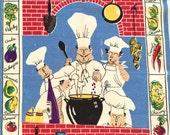 Vintage Tea Towel Too Many Cooks Kitchen Chefs RARE