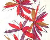 Vintage MOD Fabric Red Purple Flowers Vera Style