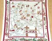 Vintage Souvenir Tablecloth Alaska State Map Cactus Cloth Square Table Cloth