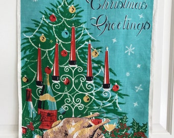 Christmas Towel Linen Tea Towel Holiday Table Turkey Candles Crackers Tree from Lamont Irish Linen