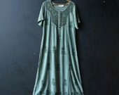 Greem Maxi Dress In Mint Color With an Embroidered Yoke Olivia Brand And Buttons 90s  Vintage From Nowvintage On Etsy