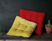 Vintage Velvet Pillows Chair Pillows Red and Chartruse Yellow 1960s Vintage From Nowvintage on Etsy