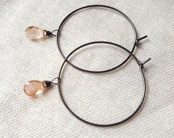 Oxidized sterling silver AAA Oregon Sunstone hoop chandelier dangle earrings