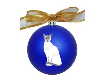 Siamese Cat Hand Painted Christmas Ornament - Can Be Personalized with Name