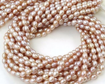 Natural Pink-Peach Freshwater Rice Pearls Strand - 5mm x 6mm