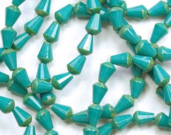 Dark Turquoise Picasso Top Cut Faceted Teardrop Vertical Hole Czech Glass Beads - 15