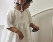 3/4 Sleeve Linen Tunic, Blouse, Off White Top, Toddler Shirt, Girls Linen Tunic, Baby Girl Top
