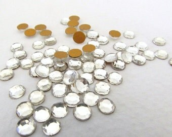 Vintage Glass Rhinestones Clear Chaton Roses Faceted Crystal Color Flatback 4mm 16ss rhm0026 (100)
