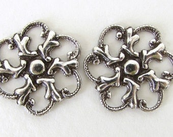 Antiqued Silver Ox Flower Filigree Connector Link Charm Round 19mm flg0076 (4)