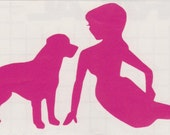 Labrador and Pin Up Silhouette, Hot Pink Vinyl Decal