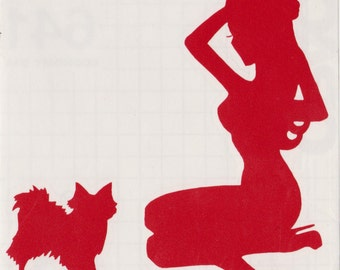 Papillon and Pin Up Silhouette, Red Vinyl Decal