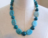 SALE Turquoise Blue  Green Long Chunky Beaded Necklace