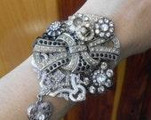 SALE Silver Black Rhinestone Cuff Bracelet, Art Deco Chunky Cuff, Statement Gatsby Wrist Corsage, Bridal Vintage Brooch  Collage Heart Jewel