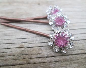 Pink Crystal Clear Rhinestone Hairpins Set