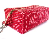 dopp kit - upcycled upholstery fabric in red and offwhite, with waxed canvas lining
