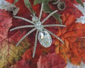 Gigantic Spider Brooch - Rhinestone Spider Pin