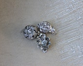 Silver Plated 10mm 8mm Crystal Filigree Box Style Locking Clasps - Quantity 3 Clasp Findings