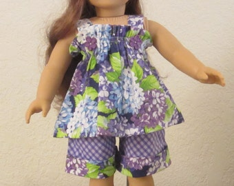 Flowers and Checks Shorts and Top 18-inch doll clothes