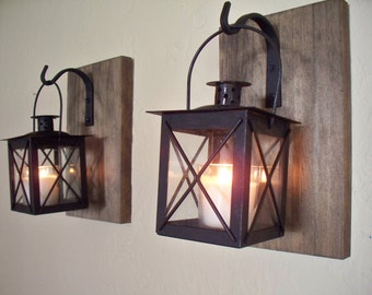 wood wall sconces 2 on rustic wood boards home decor bedroom decor