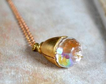 Glass and brass necklace, steampunk necklace - Lightborn