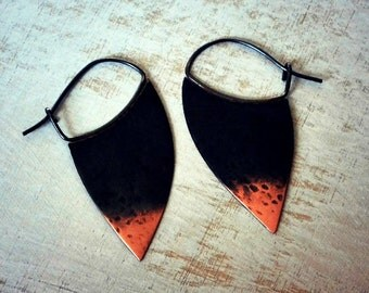 Rustic copper earrings, boho earrings, hoop earrings, blade hoops, ombre oxidized, sterling silver - Blade
