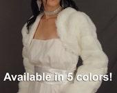 Faux fur mink wedding coat bolero jacket bridal long sleeve shrug stole wrap FLBA AVAILABLE in white, ivory, black, brown, baby pink