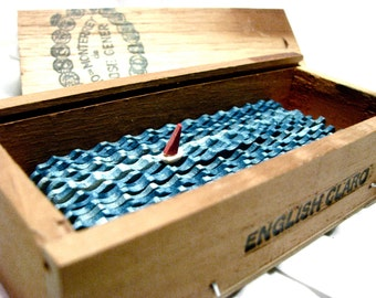 nautical sailboat sculpture, small wood cigar box home decor, kinetic wood boat sculpture