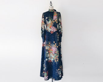 Vintage 1970s Navy Floral Flower Child Long Ball Gown - 6