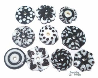 METRO FUN FLATS Lampwork Beads Handmade Flat DIscs in Black and White -  Set of 10