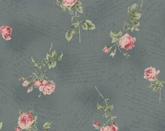 Lecien Antique Roses Spring 2015 Roses on blue print 31151L-70 1 yard