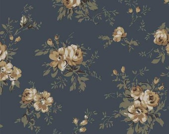 SALE RURU Natural Tone by Quilt Gate floral print 1 yard RU2240-12C Heavier weight cotton linen blend
