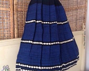 """Vintage 50's Pleated Wool Skirt Blue Metallic Shimmery Stripes Rockabilly Swing 26"""" Waist"""