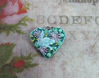 heart bead - ceramic heart , Heart bead for necklaces, necklace heart ,clay heart bead,  2 sided bead -  # 25
