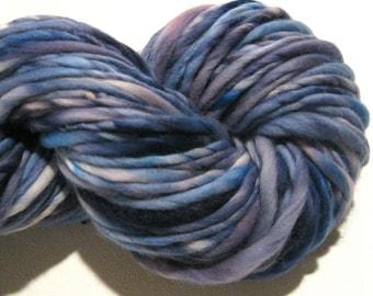 Super Bulky Handspun Yarn As You Like It 90 yards, hand dyed wool, blue yarn, waldorf doll hair, knitting supplies crochet supplies