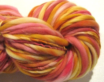 Handspun yarn Joy 124 yds pink gold orange  bulky yarn thick adn thin yarn handdyed merino wool blue yarn knitting supplies crochet supplies