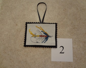 Fishing lure- ornament/magnet -cross stitched #2