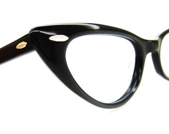 Vintage Black Cat Eye Glasses Eyeglasses Sunglasses Frame B&L
