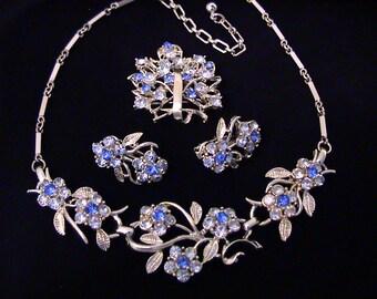 Vintage CORO Blue Rhinestone Flower Necklace, Earrings, and Brooch Set