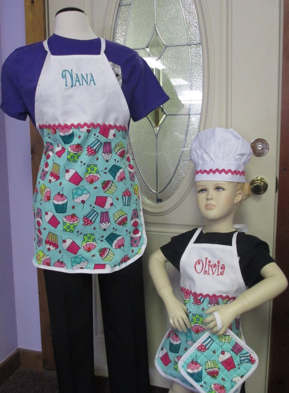 Personalized Apron Cupcake Adult or Child Size with Chef Hat and Hot Pad