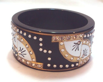 "Resin Black, Silver, Goldtone, Rhinestone Bangle Anita Stern ""This N That"" NYC"
