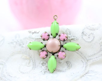 Starburst Pendant with Vintage Stones in Antique Brass Setting - Lt. Green, Pearlized Pink & Opaque Pink - 30mm - S24 .
