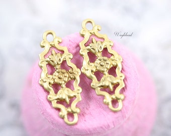 Raw Brass Filigree Floral Botanical Flower Charms 29x12mm Connectors Links - 4