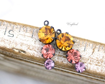 Vintage Rhinestone Drops Round Set Stones 1 Ring 23mm Black Antique Brass Prong Settings Topaz, Peach & Light Amethyst - 2 .