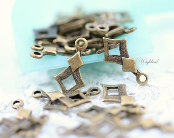 Antique Brass Textured Diamond 6x12mm Jewelry Charms Dangles Connectors - 20
