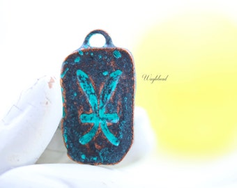 Greek Zodiac Sign Pendant Green Patina Verdigris Mykonos Style Casting Bead Astrological Symbols Pisces Charm