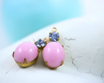 Vintage Unfoiled Oval and Chaton Stones 1 Ring Brass Settings 19x10mm Milky Pink & Light Sapphire - 2