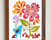 Bluebird In the Garden - 8x10 Fine Art Print by Megan Jewel